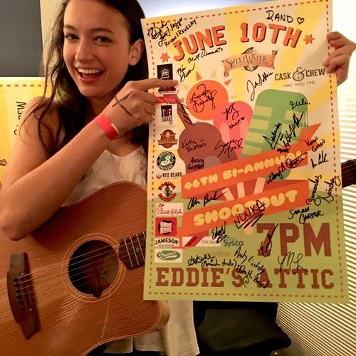 the night Mia won Eddie's Attic Acoustic Showdown