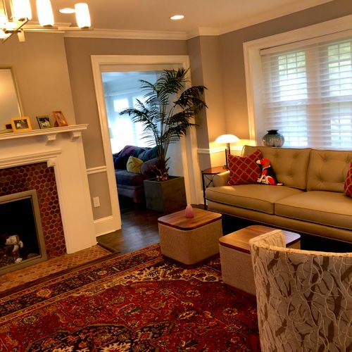 We designed this casual  LR in Bala Cynwyd using pet friendly fabrics and comfortable seating.