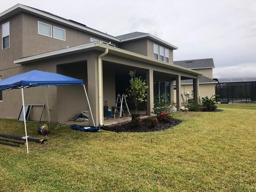 Gutter installation and building Lanai