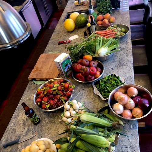 The summer bounty for a summer meal, preparing to feed 40