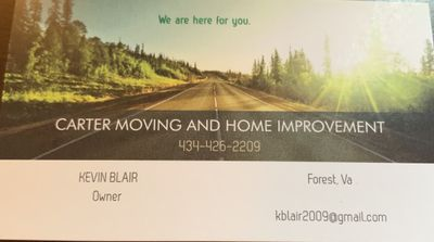 Avatar for Carter Moving and Home Improvement Forest, VA Thumbtack