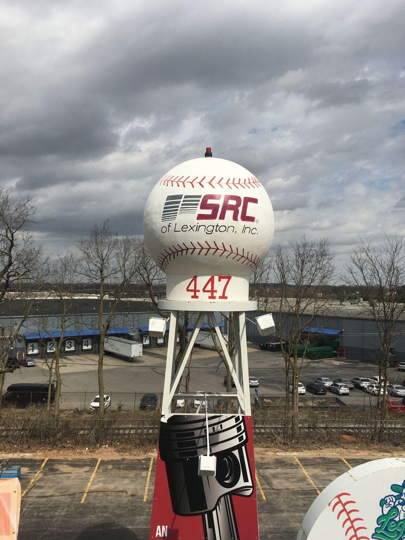 SRC Baseball logo mural at Whitaker Bank Ballpark
