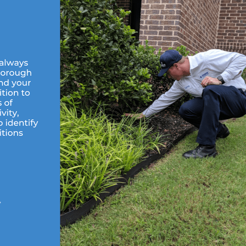 Exterior service begins with a thorough inspection around your property. We look for signs of pest activity, and any conducive conditions for pests.