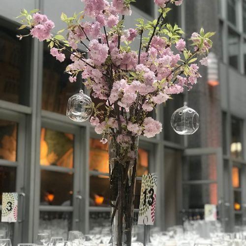 Evelisa Floral & Design Cherry blossom centerpiece