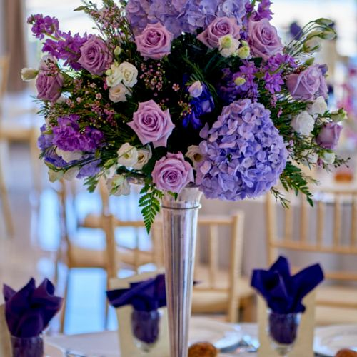 Evelisa Floral & Design Tall purple, lavender, lilac centerpiece