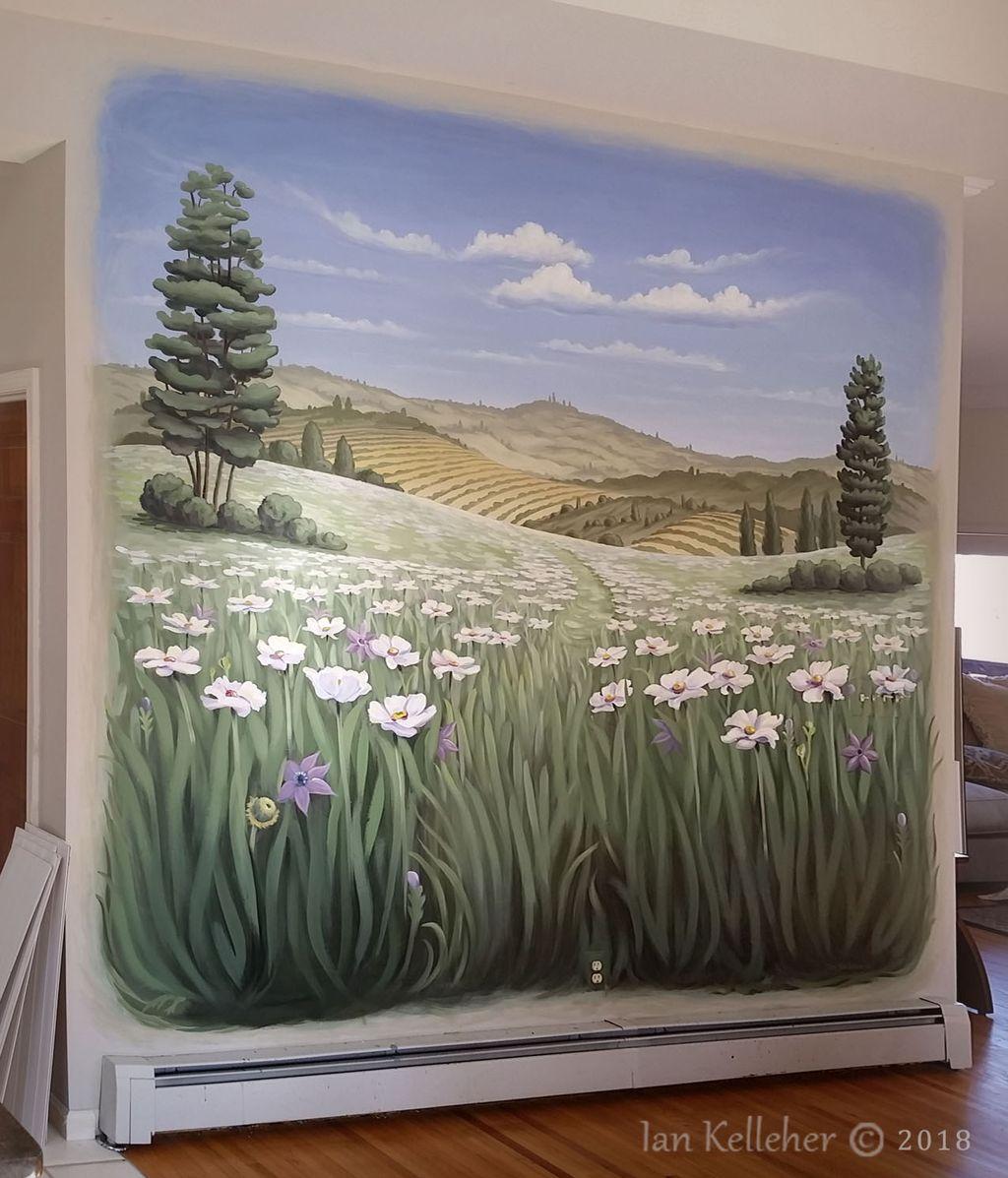 Tuscany landscape mural