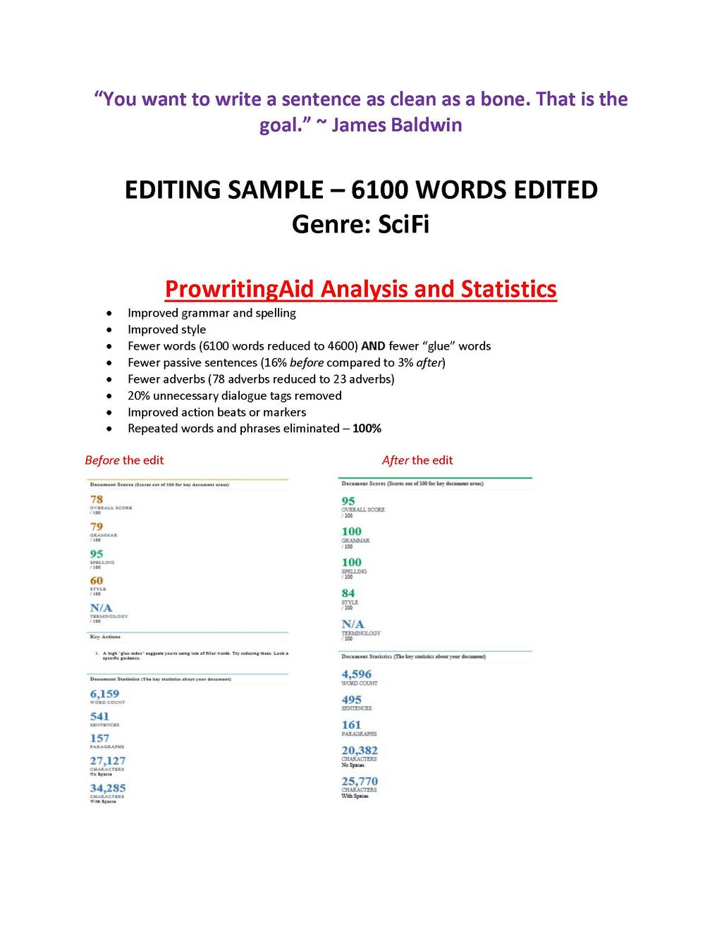 Editing Project for Fiction Writer Sample
