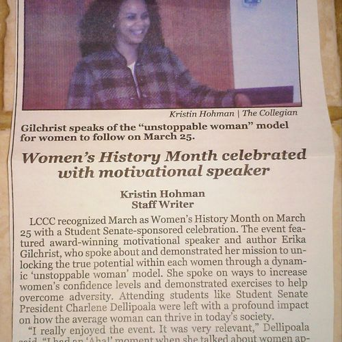 Erika Gilchrist Speaker at LCCC