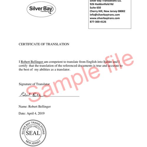 Standard Translation Certificate
