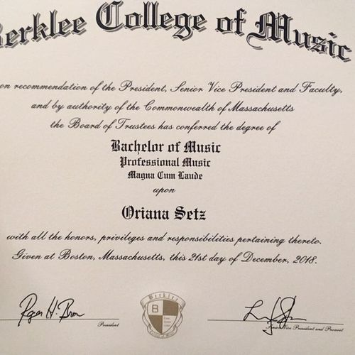 Bachelor of Music, Magna Cum Laude.
