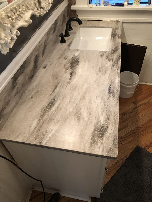 Custom bath corian countertop and splash