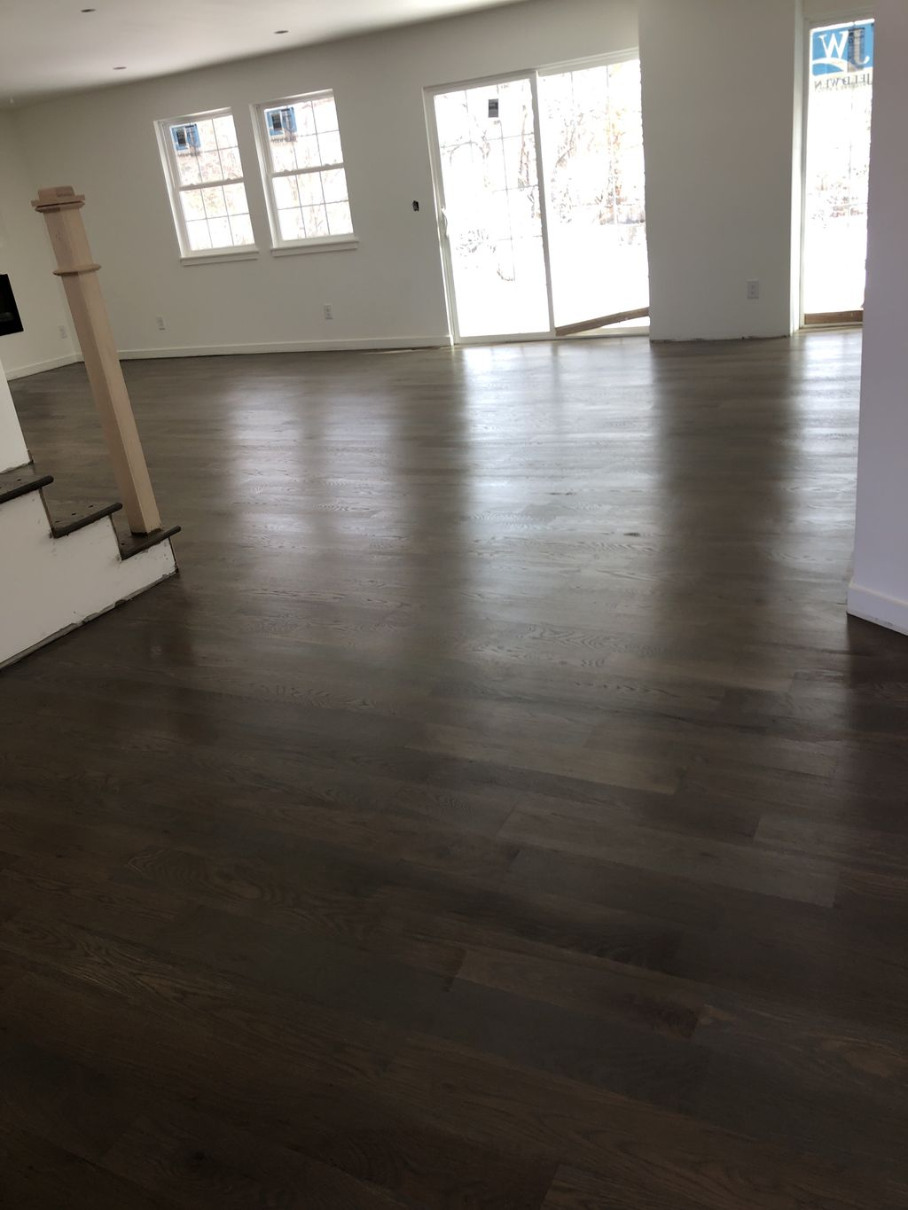 White oak with custom gray brown stain