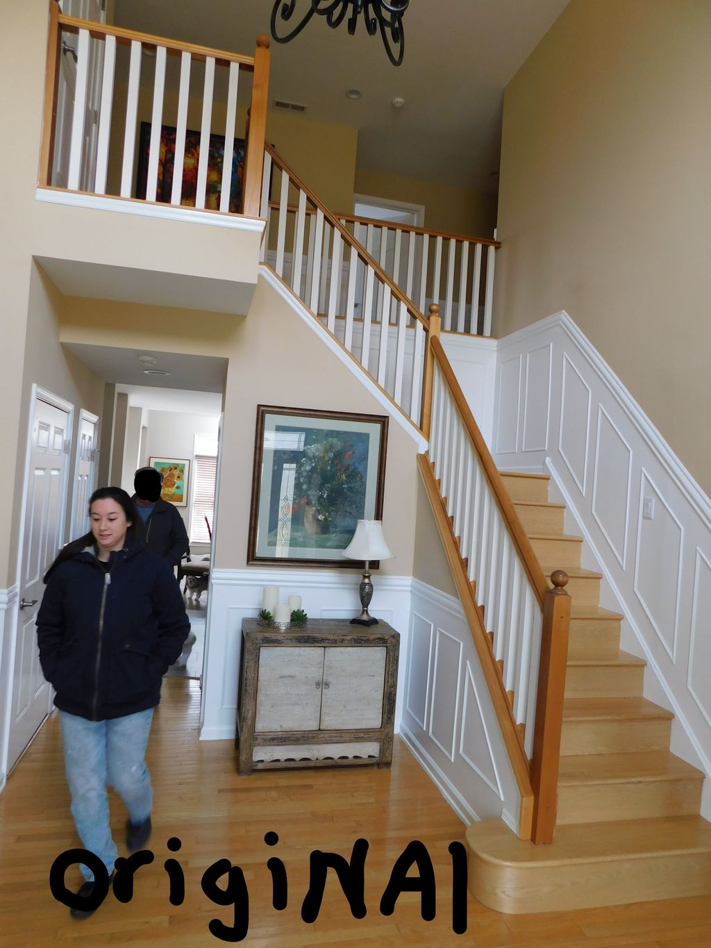 Colonial Oak rail with Metal Balusters