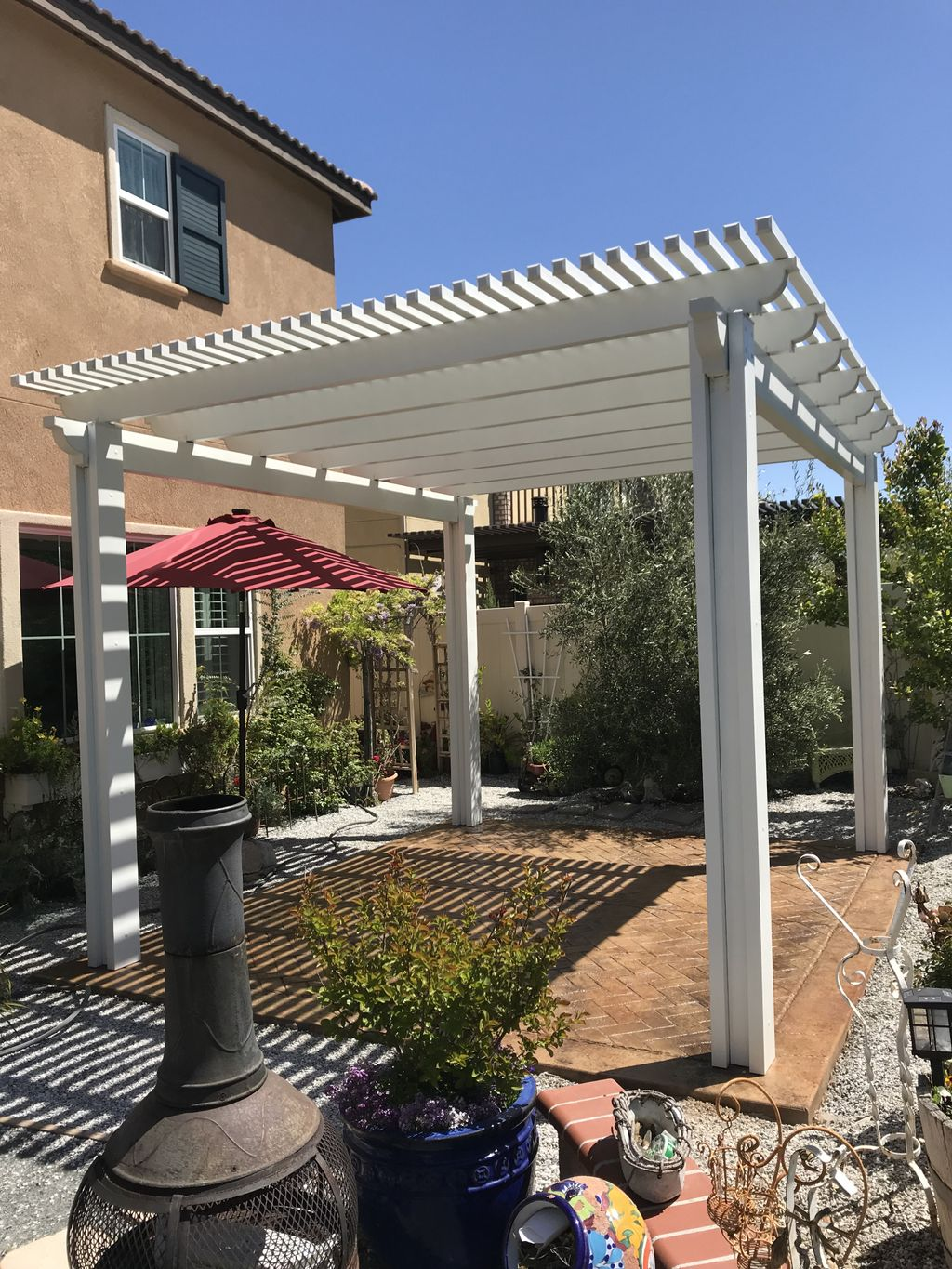 Weatherwood Pergola, Stamped Cement Colored