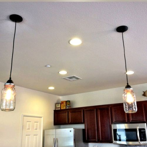 Recessed lighting install and custom owner provided pendant install