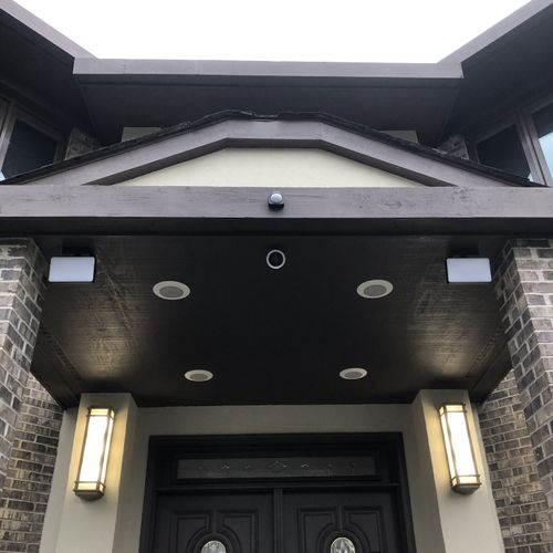 Security camera, flood lights and motion detector installation