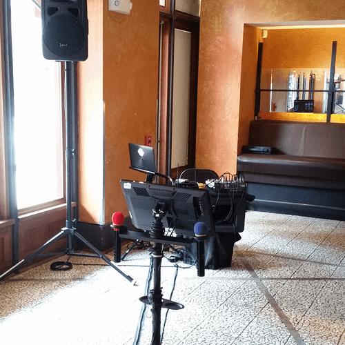 A small KJ setup in a bar corner