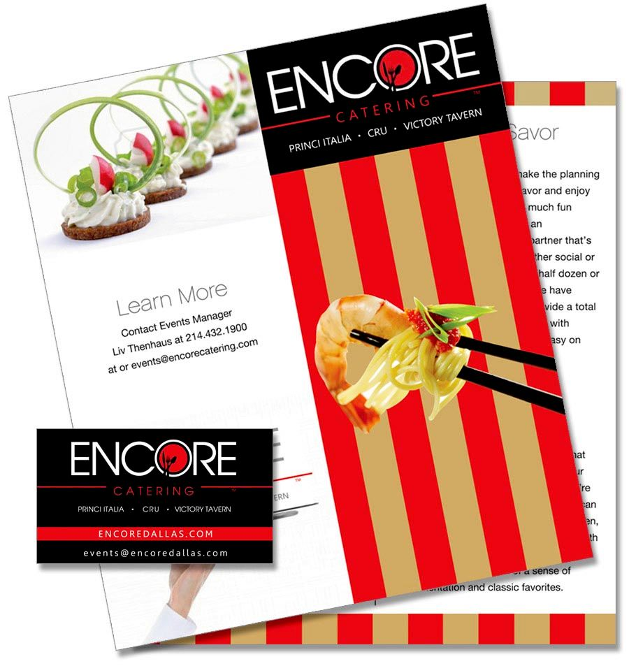 Brochure design for Encore Catering