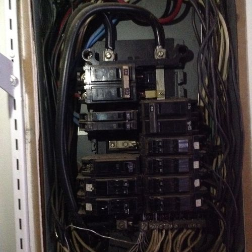 Panel replacement with existing wire being aluminum 1 of 3.   Existing panel with aluminum wire throughout home.