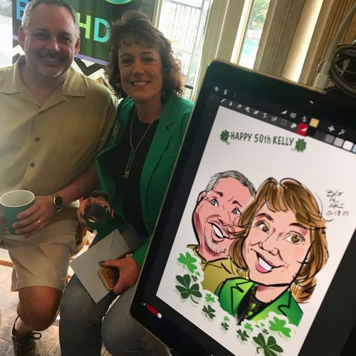 50th Birthday- Digital Caricature with custom border