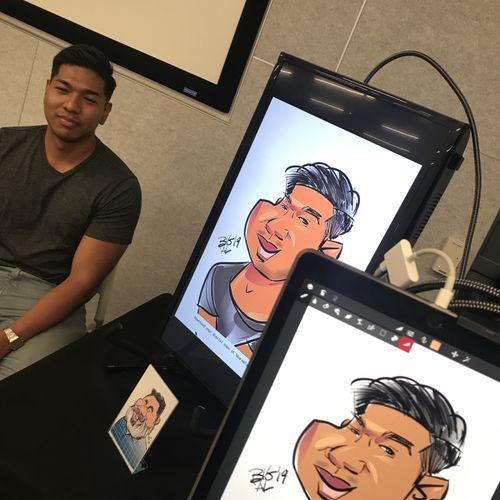 Digital Caricature iPad Pro plus monitor