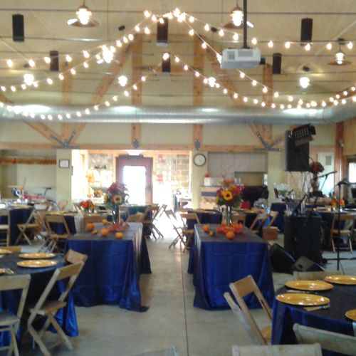 """A """"Fall in Love"""" theme barn wedding reception by the MonumentalHeights Team."""