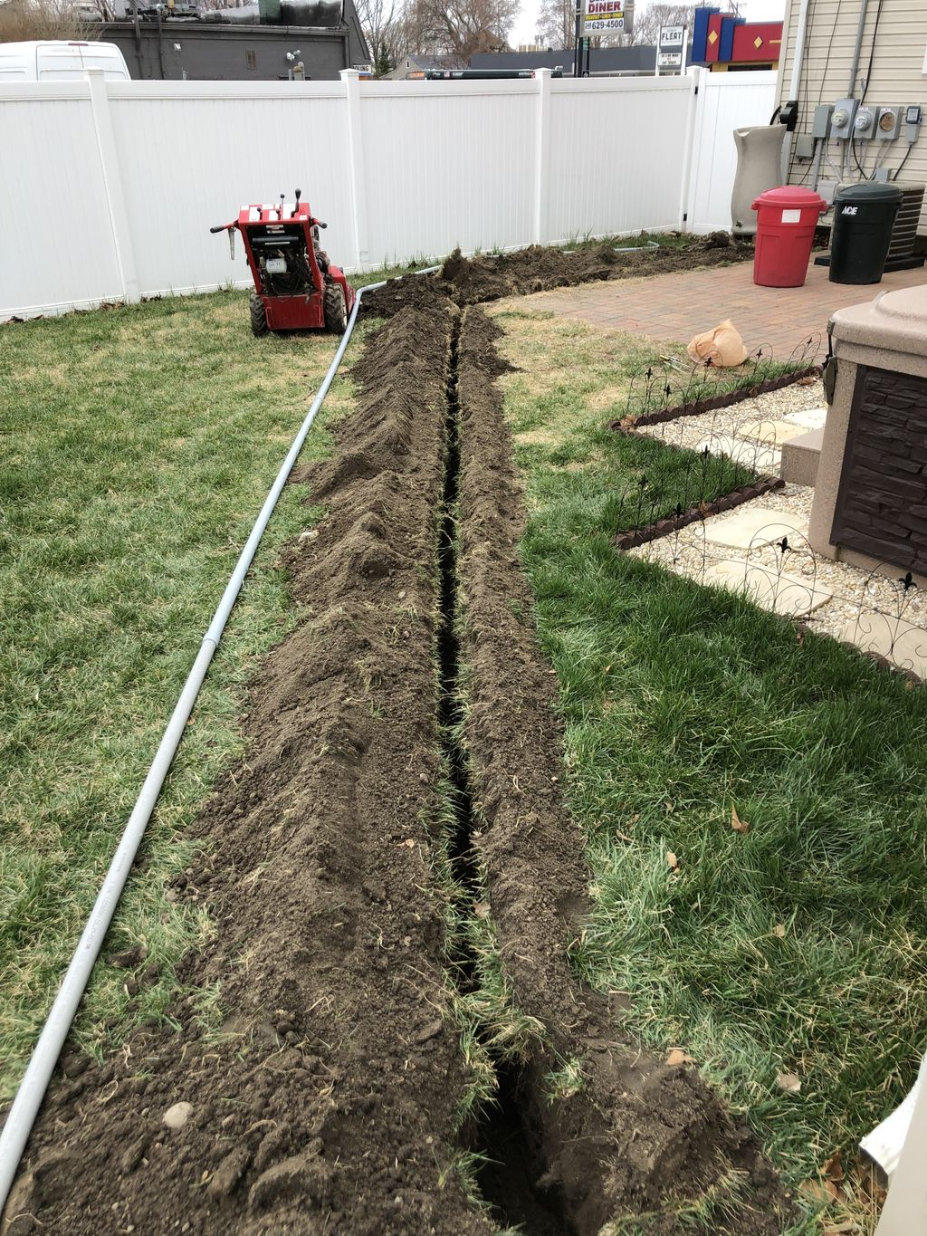 Trenching for power line