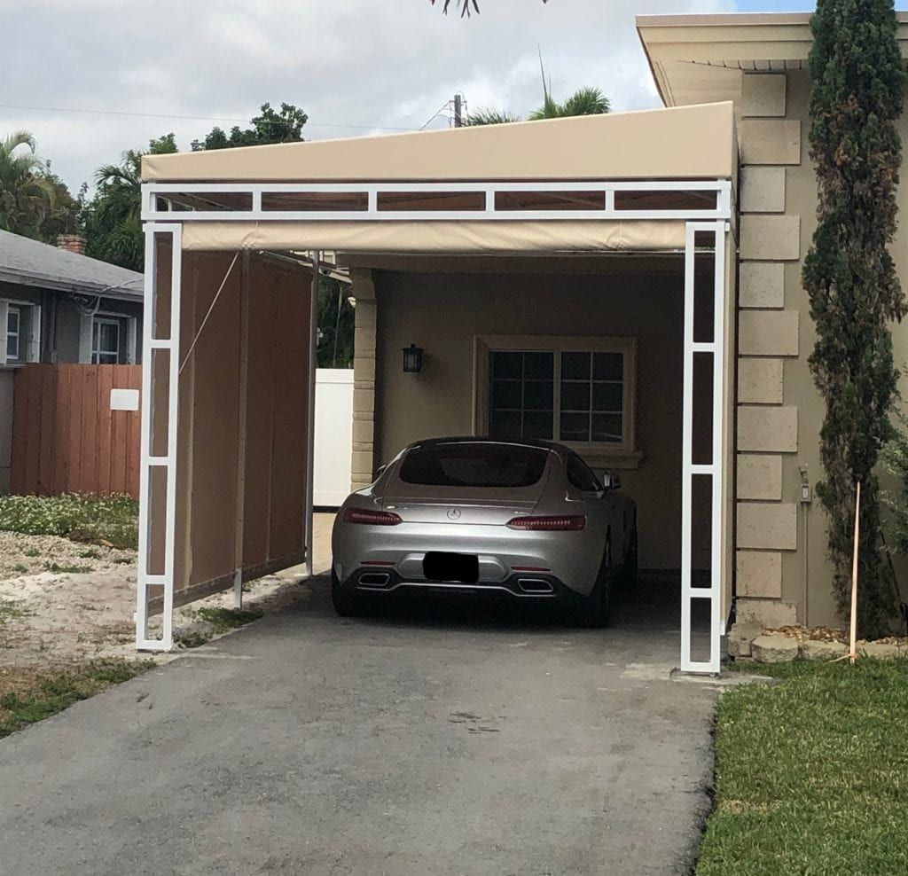 Robert Residential Carport with Curtains