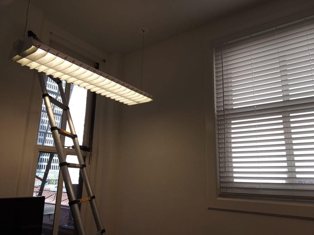 Office window blind installation