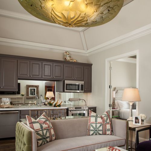 Custom Suite w/ Coffered Ceiling / Custom Kitchen & Living Room Area -The Bungalows Of Hotel ZAZA - Dallas