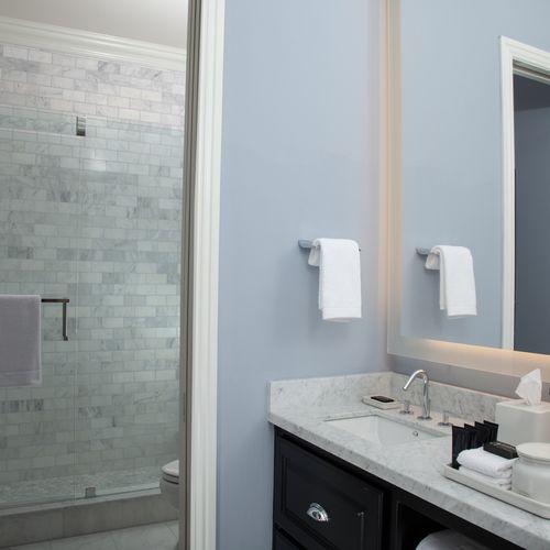 Backlit Mirror / Custom Floating Vanity with custom countertop - The Bungalows Of Hotel ZAZA - Dallas