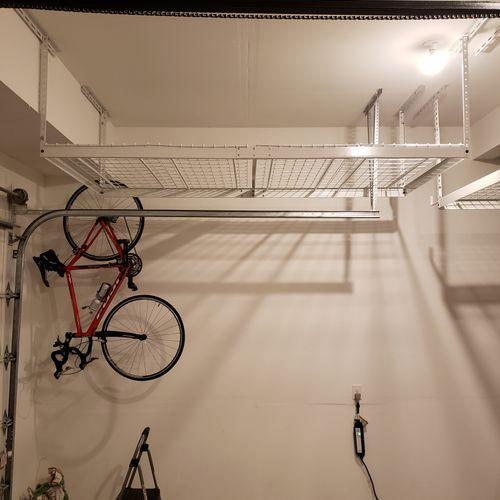 Overhead Garage Storage Rack Installation