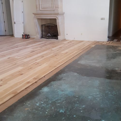 Sub-floor Complete and New Hickory Flooring Being Installed