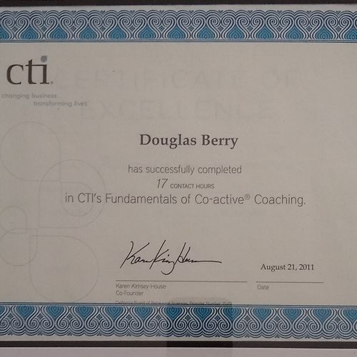certification of CTI fundamentals of Co active coaching