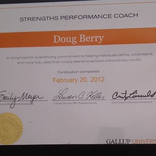 Gallup certification strength performance coach