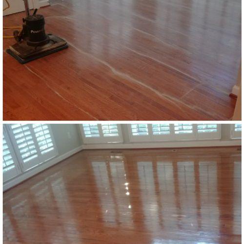 Screen sand and re-coat wood floor