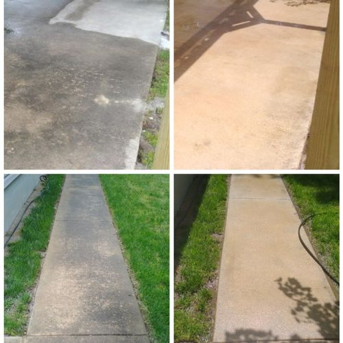 Concrete cleaning before and after pics