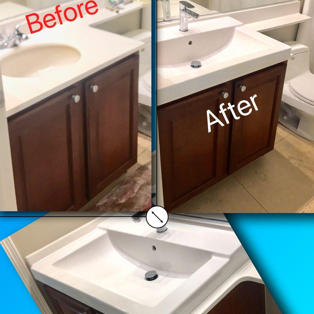 Sink custom cut  installation