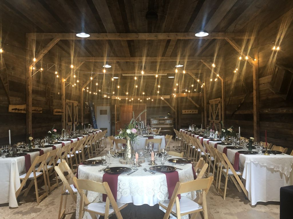 Barn reception outdoor ceremony