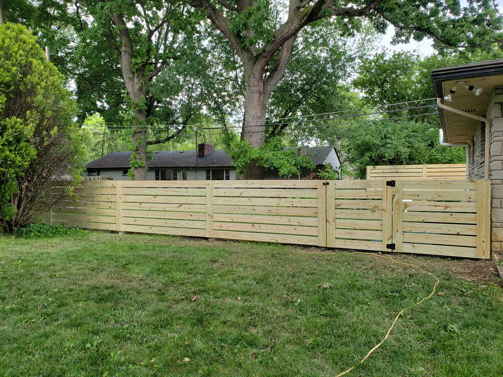 Treated pinewood horizontal privacy fence