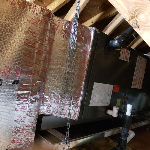 New return plenum and goodman air handler installation in attic !