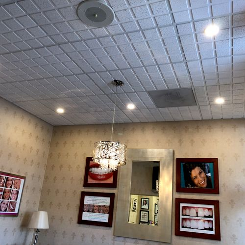 """4"""" LED recessed lights in a Dental office."""