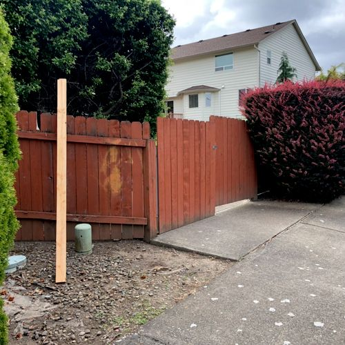 This customer wanted the gate rebuilt and brought up to six feet