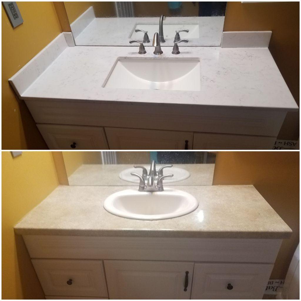 Bathroom vanity top and faucet