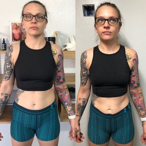 "12 weeks- down 12 lbs, 3% BF, 2.5"" around her waist AND hips"
