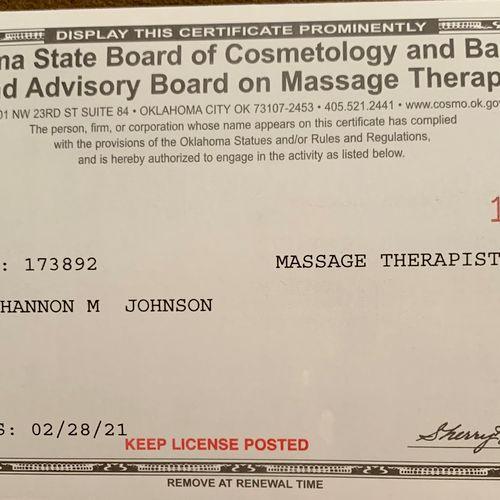 State license to massage