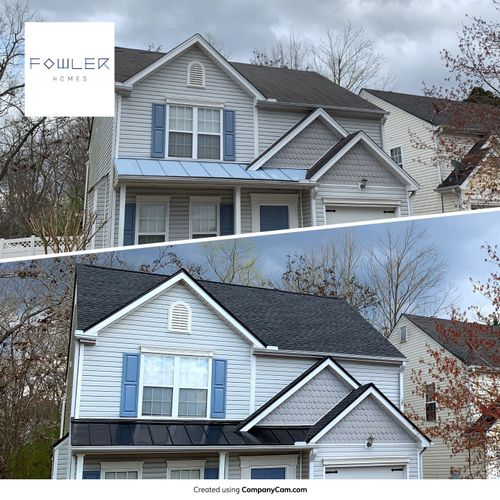 Roof Replacement with new shingles and standing seam metal on porches.