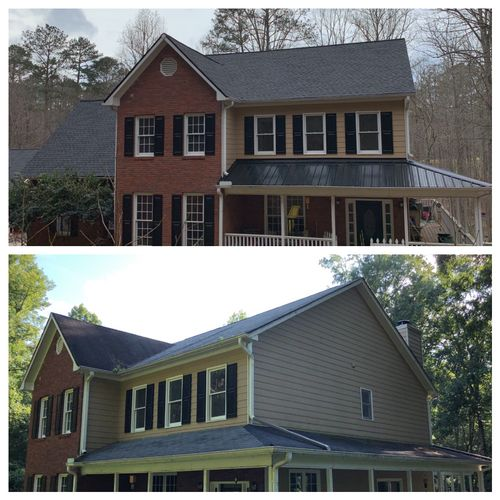 Shingle Roof Installation and Ribbed Panel Metal on porch.