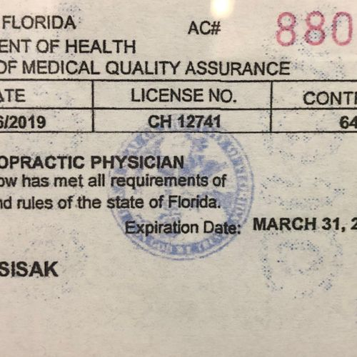 Chiropractic License