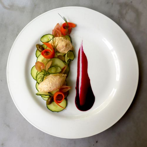 Salmon Mousse with English Cucumber, Citrus Oil, Pickled Carrot Ribbons, Caperberries, Pickled Pearl Onions, Dill and Roasted Red Beet Puree.